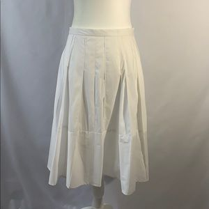 Ann Taylor White A-Line Cotton Skirt
